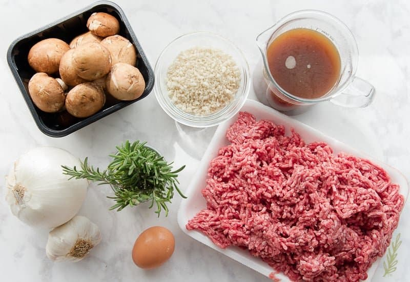 The ingredients needed for Salisbury Steak