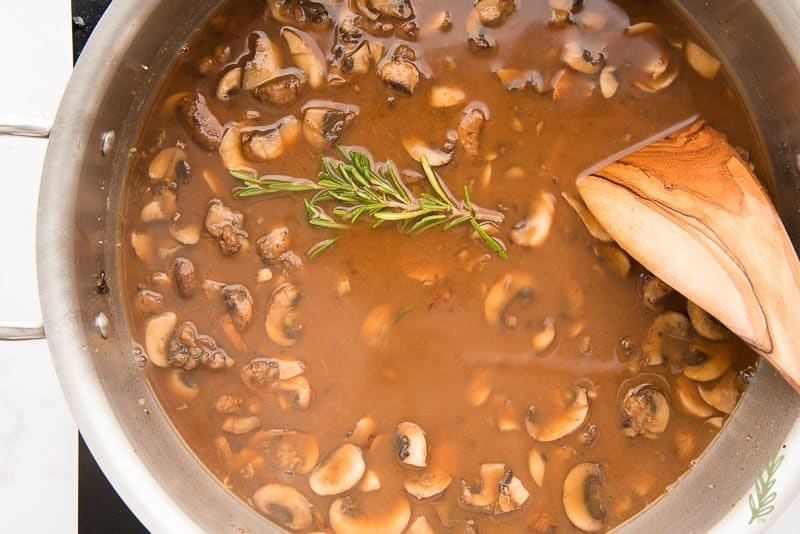 Allow the mushroom gravy to come up to a boil to thicken