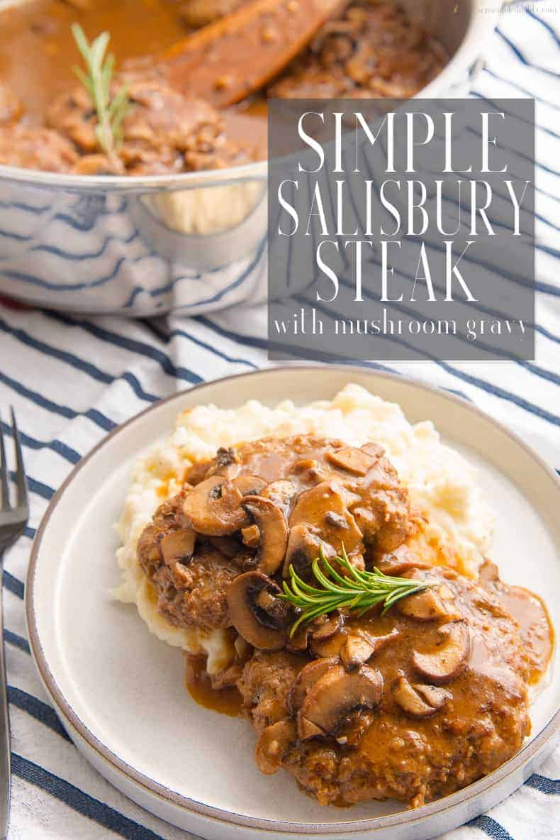 "Switch things up with this simple recipe for Salisbury Steak. Juicy, flavorful ground beef is transformed into delicate ""steaks"" and sauced with a rich mushroom gravy. Serve over mashed potatoes. #beef #salisburysteak #meatandpotatoes #easymeals via @ediblesense"