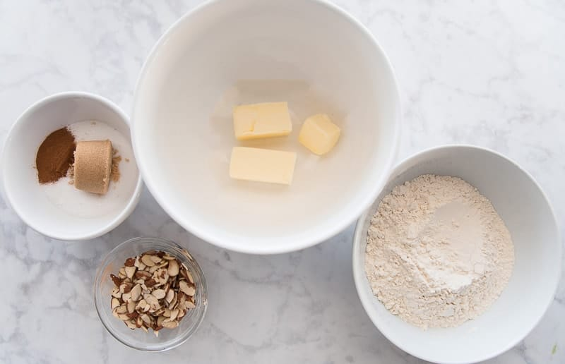 The ingredients needed for the Almond Streusel