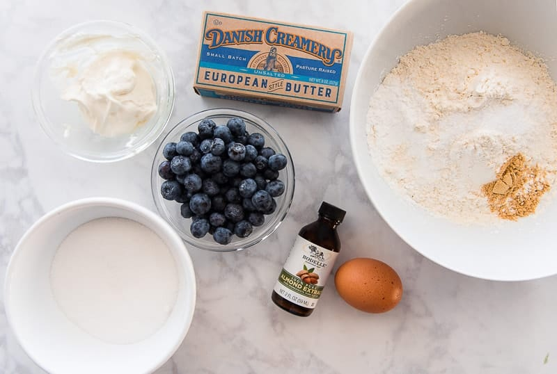 The ingredients needed for Blueberry-Almond Streusel Muffins