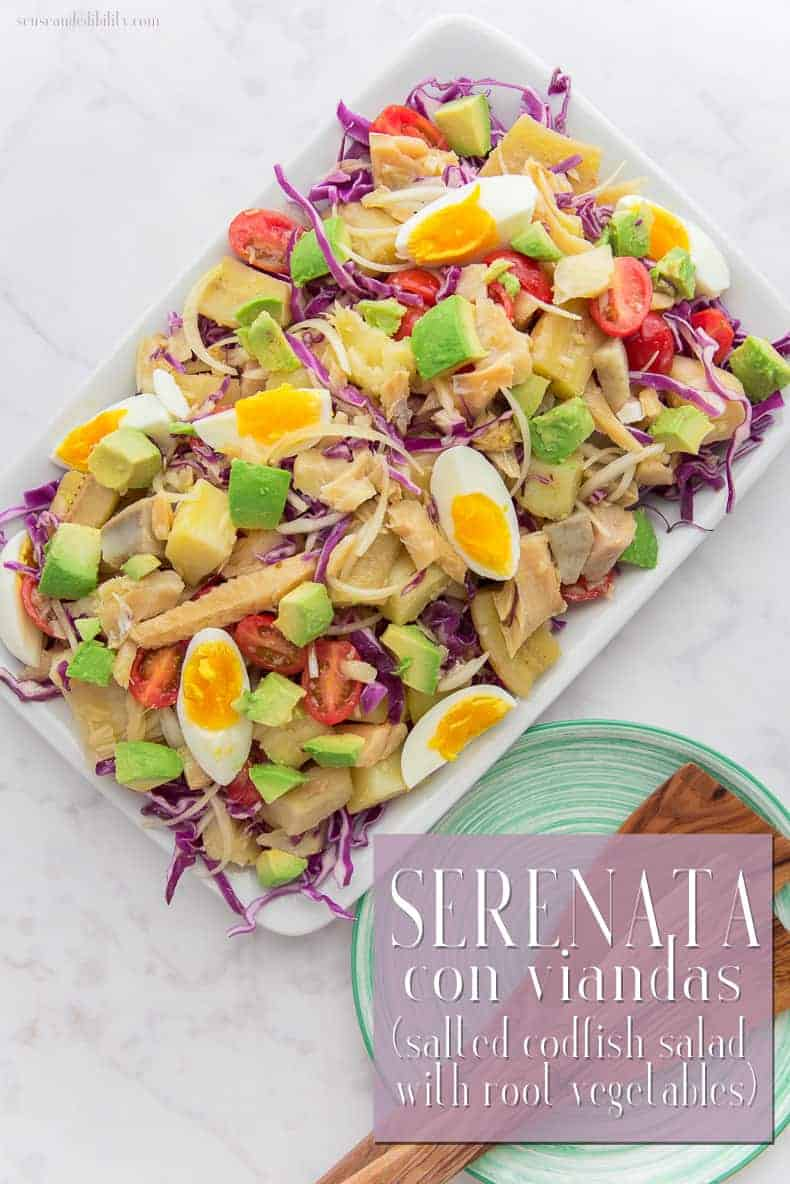 A meatless dish for your Lenten meals, this traditional Puerto Rican salted cod fish salad's name sings its own praises! Serenata, meaning Serenade, is briny, crunchy and smooth. A perfect midday meal. #serenata #saltedcodfish #codfish #bacalao #vianda #Lentenmeal #Lent #seafood #fish #salad #lunch #dinner via @ediblesense