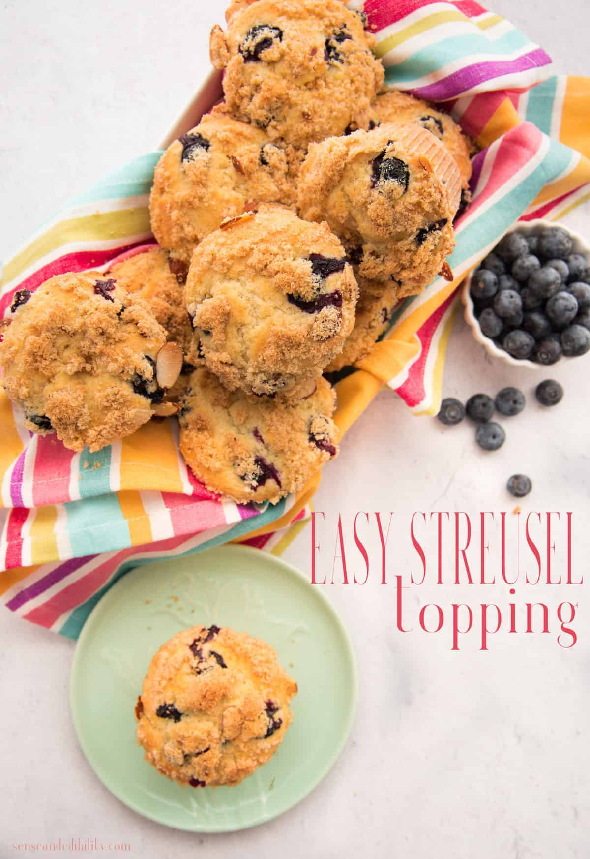 This easy-to-make Streusel Topping is the perfect way to elevate your favorite baked goods. #streusel #topping #pies #dessert #muffins #quickbread #sweets #easy  via @ediblesense