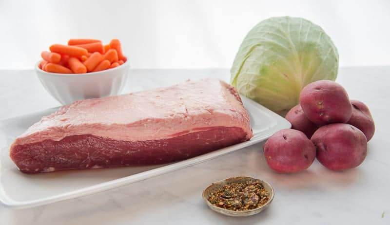 The ingredients needed for Baked Corned Beef and Cabbage