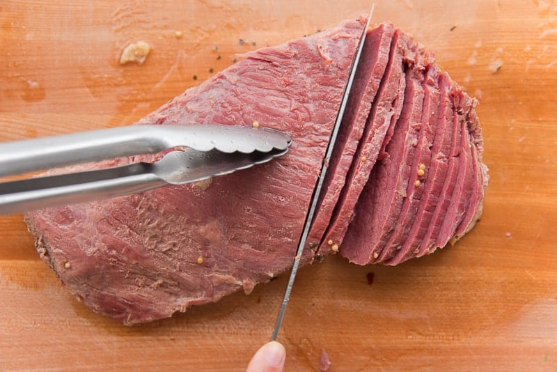 Cut the corned beef against the grain