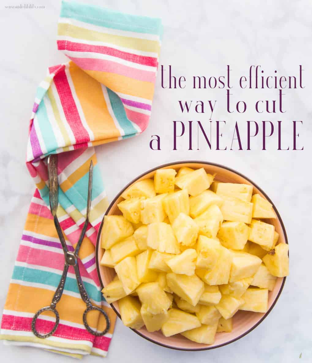 Pineapples are not only sweet, but are high in vitamin C as well. Learn the most efficient way to cut a fresh pineapple, then use the fruit of your labor in all of your favorite dishes. #knifeskills #cutting101 #pineapple #onlineculinaryclass #kitchenfundamentals via @ediblesense