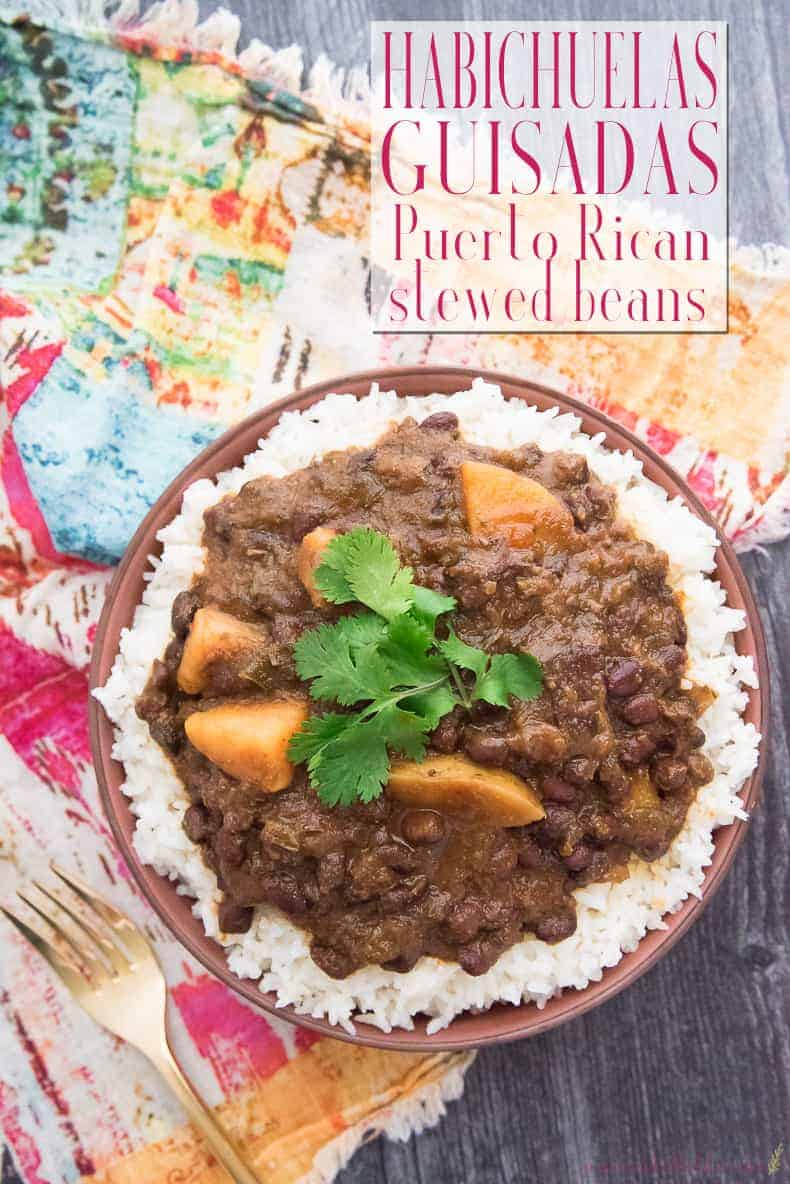 Habichuelas Guisadas (Puerto Rican style stewed beans) are a meal on their own. Serve over steamed rice or eat as a stew. #puertoricanbeans #riceandbeans #beansandrice #pantrymeal #driedbeans #habichuelasguisadas