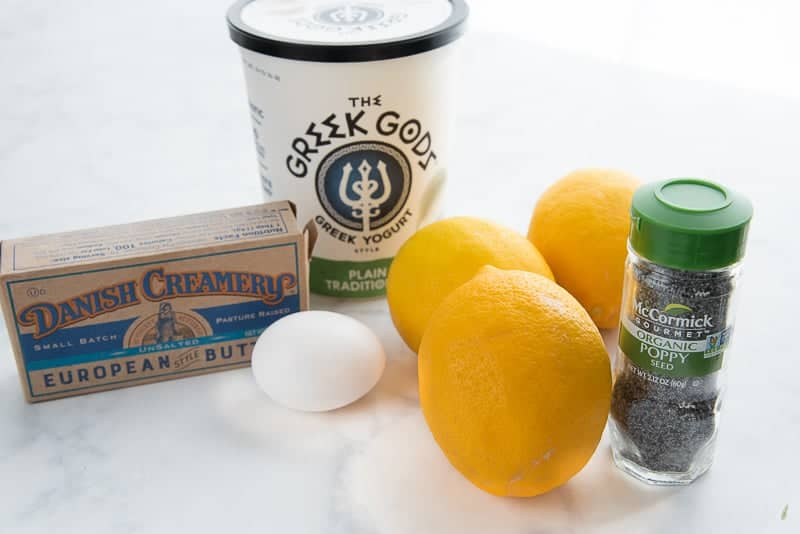 Unsalted butter, greek yogurt, lemons, poppy seeds, and eggs are some ingredients needed for Lemon Poppy Seed Muffins