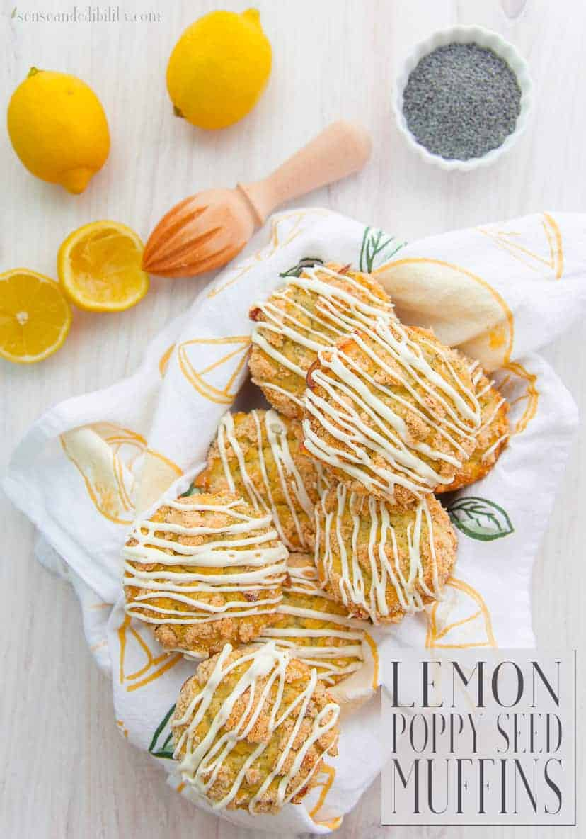 Make mornings brighter with these Lemon Poppy Seed Muffins. Tart with lemony flavor and earthy poppy seeds, a simple cream cheese glaze makes it all the more delicious. #lemonpoppyseed #breakfastmuffins #muffins #glazed #lemonpoppyseedmuffins via @ediblesense
