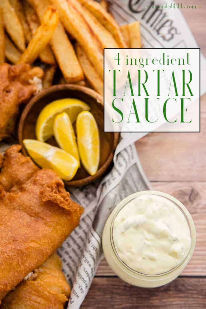 This homemade Tartar Sauce only needs four ingredients and less than five minutes of your time to make. Keep it on hand for all your seafood dishes. #tartarsauce #fiveingredientsorless #seafood #sauce #mains #dinner #fish #fishfry #lunch #senseandedibility via @ediblesense
