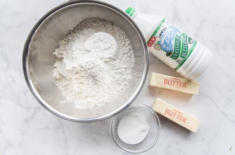 The ingredients needed to make Buttermilk Biscuits