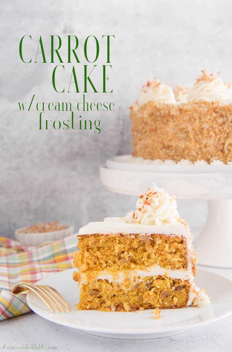 Carrot Cake made with finely shredded carrots, coconut, pineapple, and walnuts in a spiced batter. Top with Cream Cheese Frosting for a rich dessert. #carrotcake #springbaking #Easterdesserts #dessert #cake   via @ediblesense