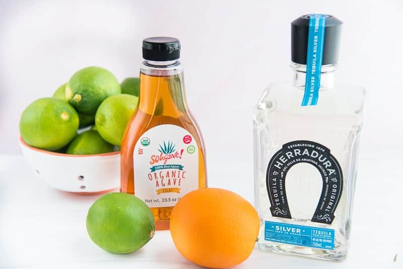 The ingredients needed to make Chispa Margaritas