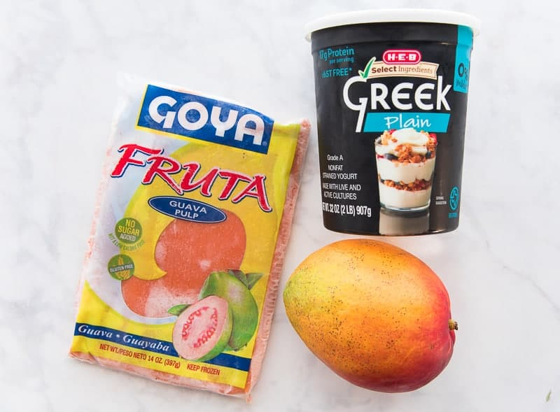 The ingredients needed to make 4 Ingredient Fruit and Yogurt Smoothie