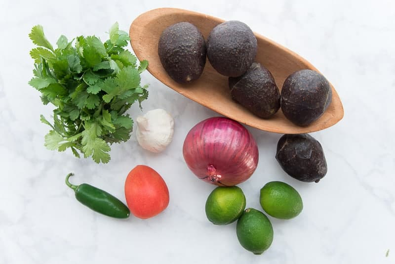 The ingredients needed for Chunky Guacamole