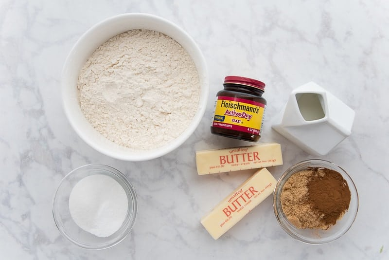 The ingredients needed to make Flaky Cinnamon Rolls with Cream Cheese Icing