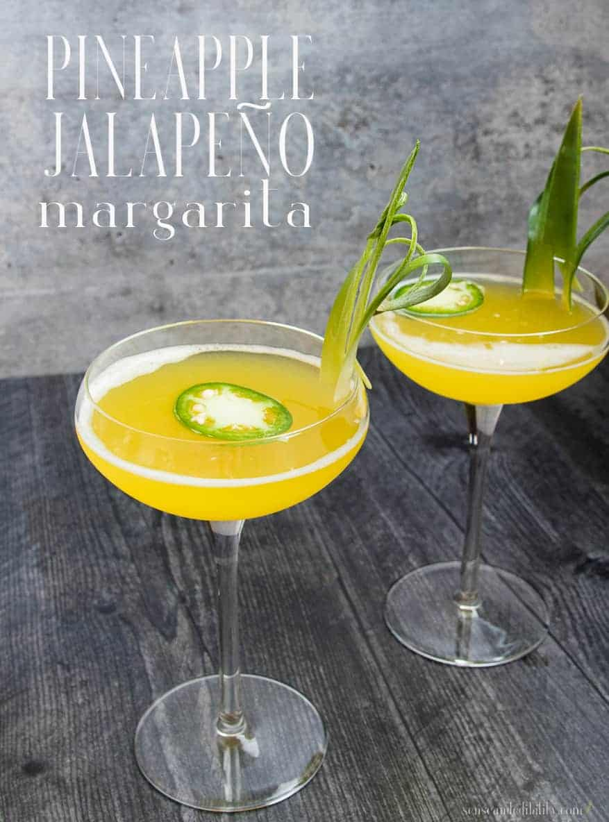 Sweet tart with a kick. These Pineapple-Jalapeño Margaritas are made with pineapple juice and sweetened with a spicy jalapeño simple syrup. Just when you thought the heat would be too much, the tequila kicks in a smooths things out. #pineapplejalapenomargarita #margaritas #tequilacocktail #cocktails #cincodemayo #spicypineapplemargarita via @ediblesense