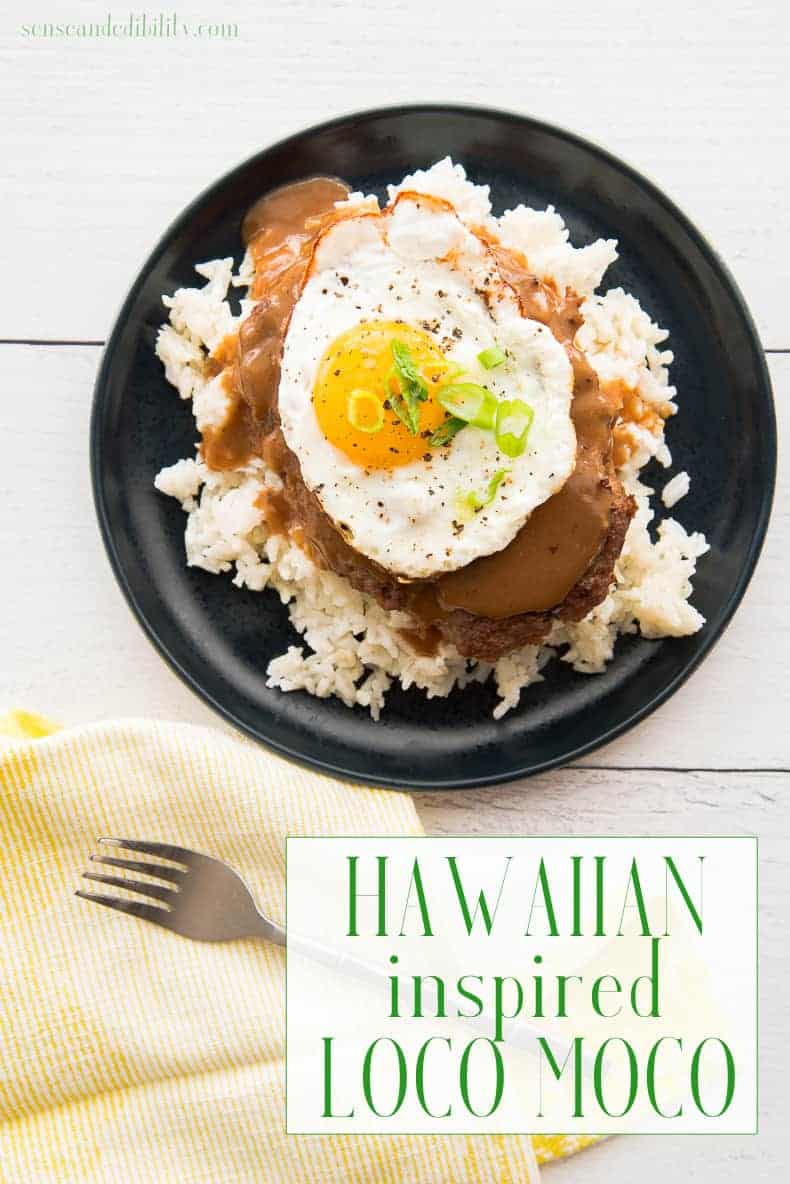 Loco Moco is a Hawaiian lunch plate staple. Flavorful beef patty on a bed of rice smothered in brown gravy and topped with a fried egg. #locomoco #hawaiian #lunchplate #hawaiianlunchplate #dinner #lunch #entree #maincourse #beef #burgerpatty via @ediblesense