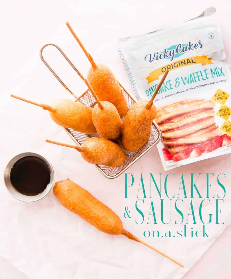 Breakfast is handheld and complete with this Pancakes and Sausage On-A-Stick recipe. Made with VickyCakes Pancake Mix and breakfast sausage. #pancakes #sausage #meatonastick #corndogs #breakfast #kidfriendly via @ediblesense