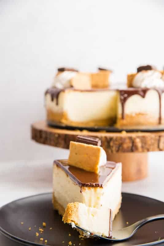 A fork has a bite of s'mores Cheesecake on it. It sits on a black plate in front of a wooden cake stand with the rest of the cheesecake on it.