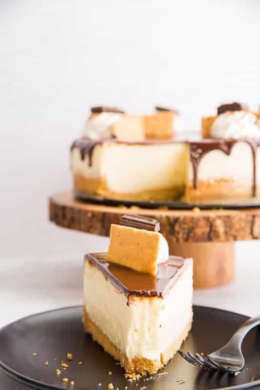 A slice of s'mores Cheesecake on a black plate with a forkful removed. The rest of the cheesecake is in the background on a wooden cake stand