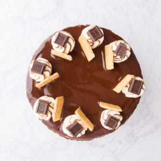 An overhead image of the top of a s'mores cheesecake