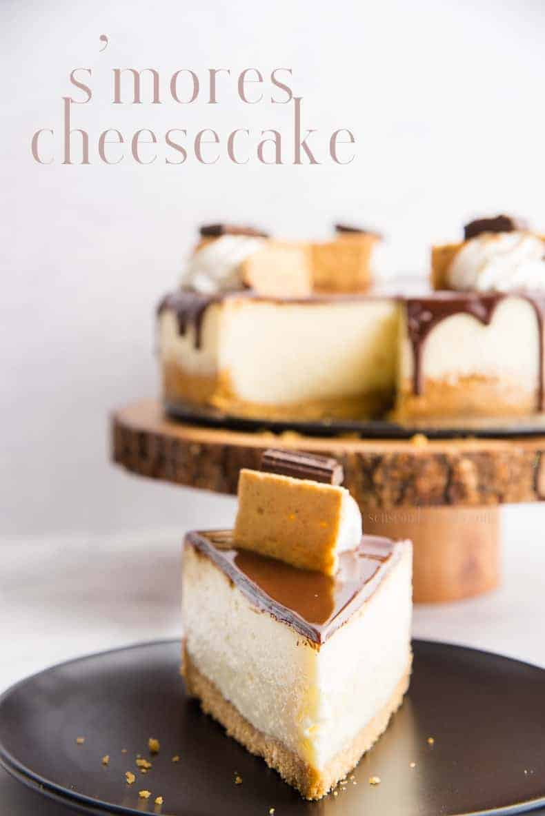 S'mores Cheesecake brings the best of the outdoors inside. Graham cracker crust, toasted marshmallow cheesecake, covered in chocolate ganache and topped with more s'mores yumminess. #smorescheesecake #cheesecake #smores #summer #dessert #cake #chocolate #baking #marshmallow #grahamcrackers #campfire #outdoorcooking via @ediblesense