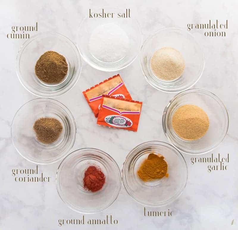 The ingredients needed to make Sense & Edibility's Homemade Sazón