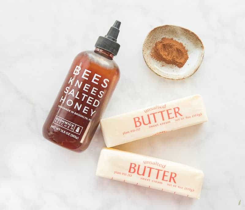 The ingredients to make Honey-Cinnamon Whipped Butter: Honey, butter, and cinnamon