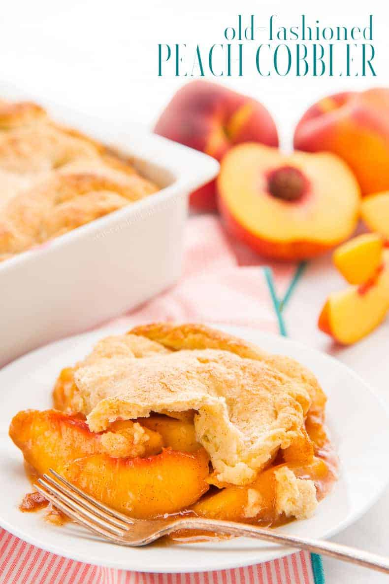 Old-Fashioned Peach Cobbler, with a flaky crust and spiced filling can't be beat. Make the most of peach season with this easy to make dessert. #peachcobbler #peaches #peachdessert #laminateddough #piedough #piecrust #cobbler #fruitcobbler #dessert #southerndessert #southern #fruit #peach #alamode #easytomake #kidfriendly #baking #pastries #bourbonpeach via @ediblesense