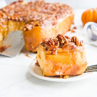 Pumpkin Caramel Sticky Buns with Pecans