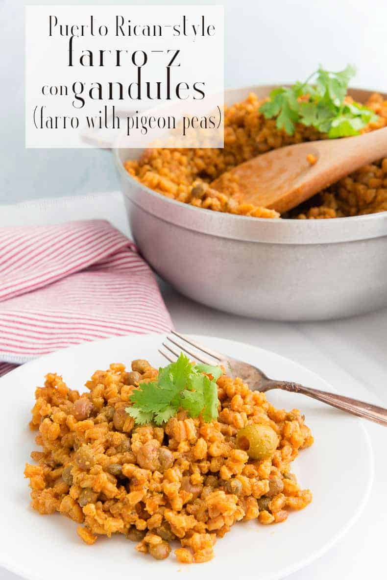 Farro-z Con Gandules is a riff on the Puerto Rican classic dish: Arroz con Gandules. Made with the same amazing flavors, it's packed with more protein and fiber than the traditional recipe. #farro #arrozcongandules #farrozcongandules #PuertoRican #comidacriolla #comidapuertoriquena #recetasdePuertoRico #nuyoricanrecipes #recetasconarroz #recetasdenavidad #diadeacciondegracias #Thanksgivingrecipes #Christmasrecipes  via @ediblesense