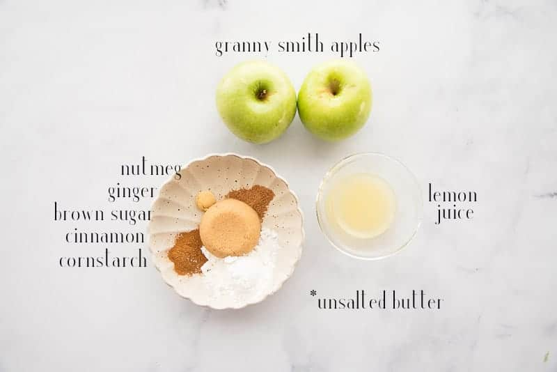 The ingredients for the apple pie topping: granny smith apples, sugar, spices, cornstarch, lemon juice