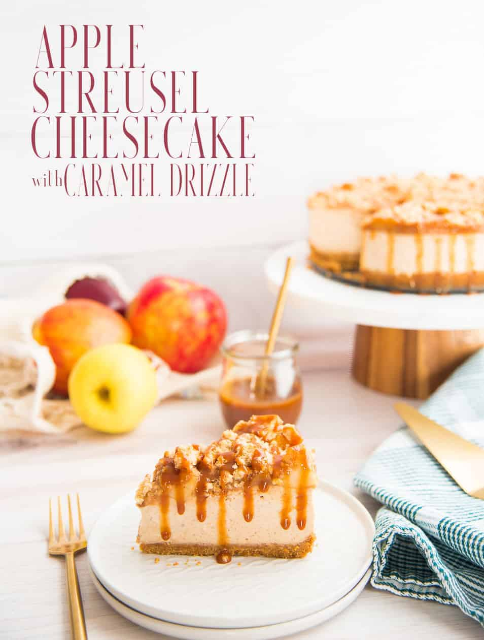 Fall is officially delicious with this creamy NYC-style cheesecake. With apples baked in and on the cheesecake, it's a bite of fall. Top with buttery streusel and a drizzle of rich caramel sauce for an amazing seasonal dessert. #applecheesecake #applestreusel #cheesecake #NYCstylecheesecake #cheesecakerecipe #dessertrecipe #postre #cheesecakedemanzana #appledesserts #applerecipes #Thanksgivingrecipe #Thanksgivingdessertrecipe #Thanksgivingdessert #holidayrecipe #holidaydessert via @ediblesense