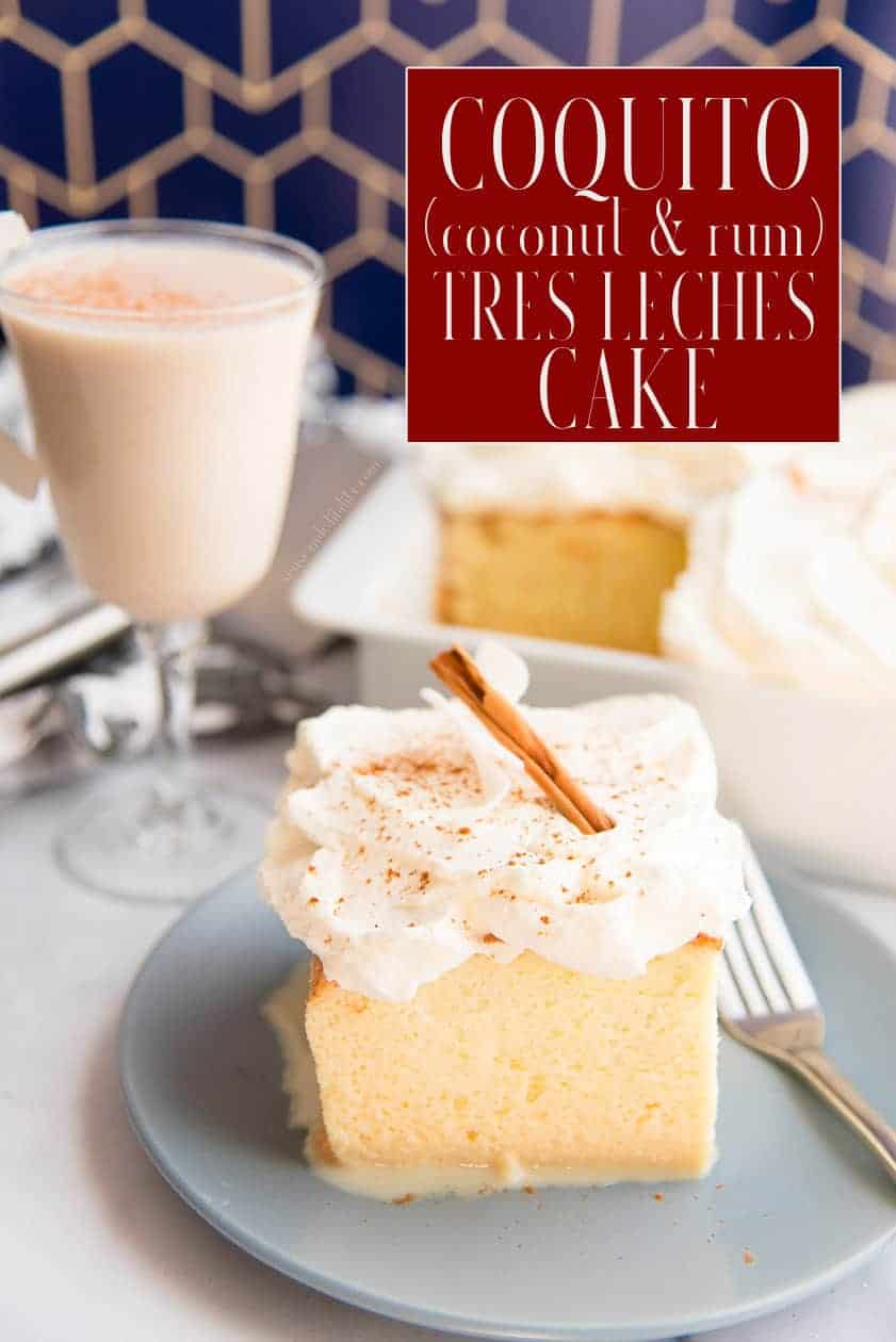 Make the holiday merrier and brighter by serving this creamy, fluffy Coquito Tres Leches cake for dessert. Combine the beloved Puerto Rican coconut and rum nog with an airy sponge cake. Top with freshly whipped cream and a dusting of cinnamon. #coquito #coquitotresleches #treslechescake #cake #bizcochodetresleches #postrespuertorriqueños #recetasdepostres #treslechesrecipe #coconut #rum #whippedcream #Christmasdessert #Thanksgivingdessert #holidaybaking #holidaydesserts via @ediblesense