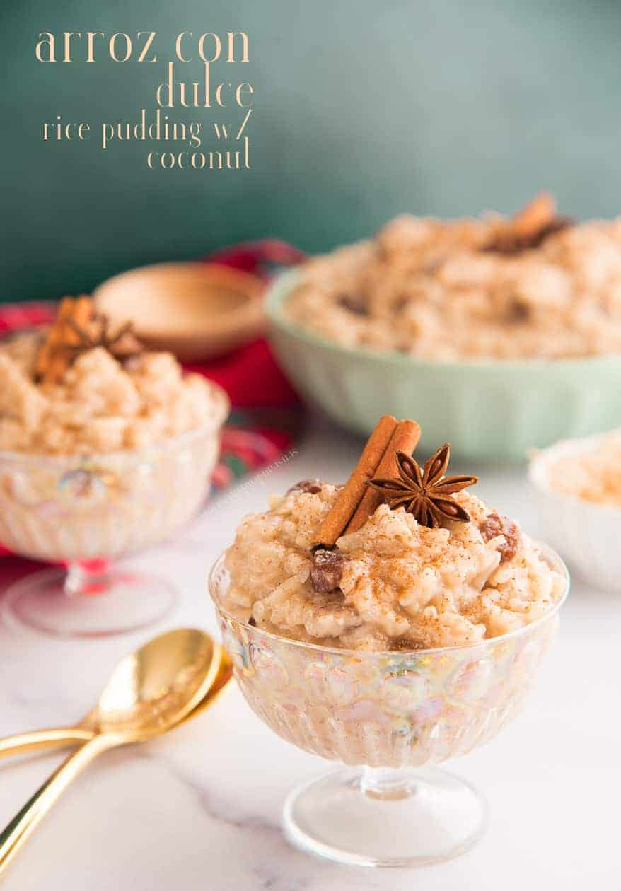 Is a favorite Puerto Rican  dessert made with coconut milk rice  and raisins. Is sweetly spiced treat is popular during the holiday season. It comes together. #arrozcondulce #ricepudding #coconutricepudding #pudding #postresNavidenos #postrestipicos #platostipicos #recetastipicas #recetasNavidenas #postrespuertorriquenos #raisins #coconutmilk  #holidaydesserts #holidayrecipe #postres   #sweets #colddesert #PuertoRico #PuertoRicandessert #Dominicandessert #Cubandessert #Hispanicdessert #LatinAmericanDesserts