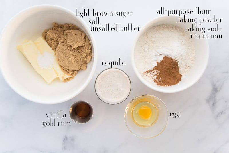 Ingredients needed: unsalted butter, salt, light brown sugar, coquito, all purpose flour, baking powder, baking soda, cinnamon, egg, vanilla, and rum.