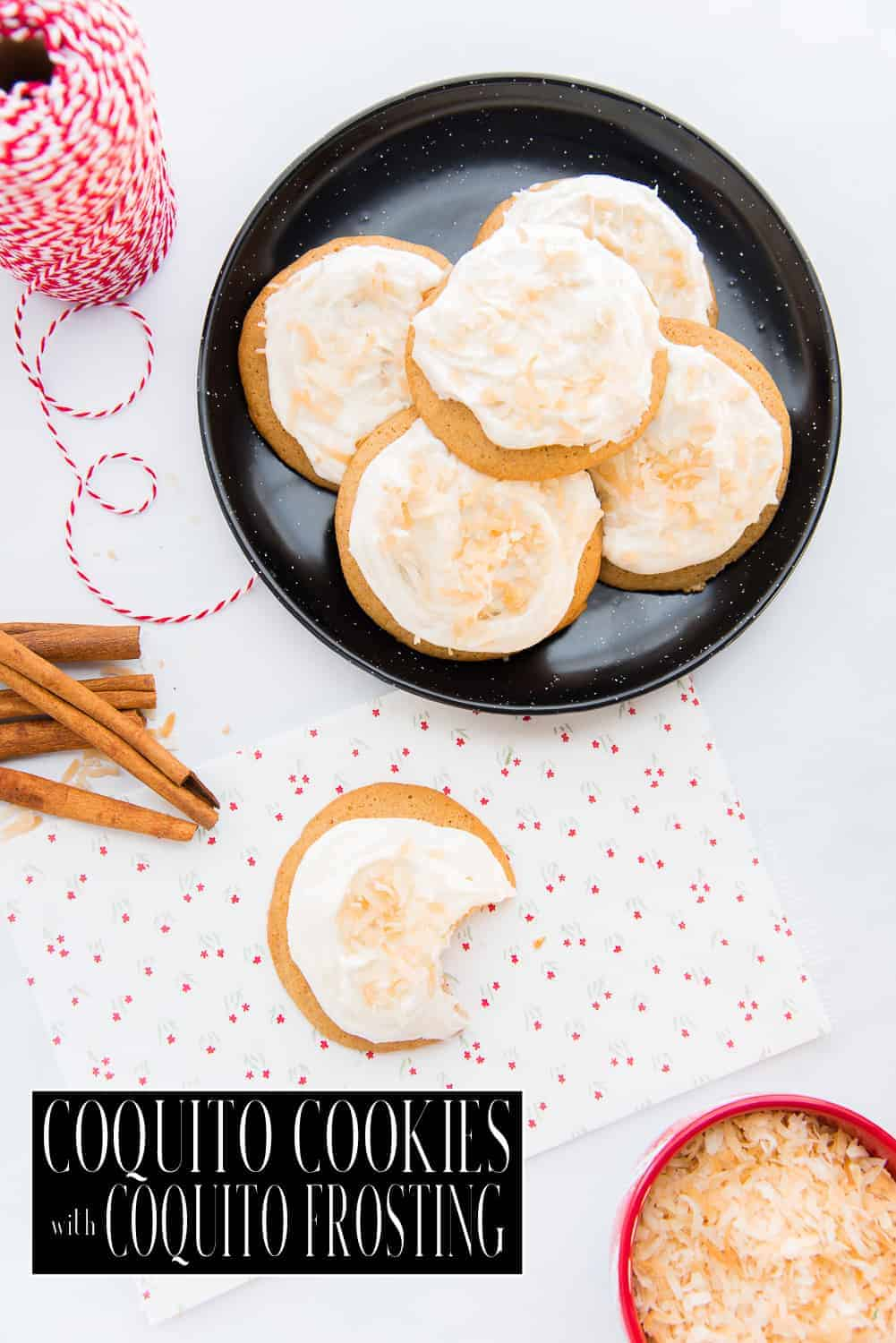 Coquito cookies with  coquito buttercream frosting are a fun way to enjoy the drink of the season. Made with coquito in the batter,  it is a festive dessert to celebrate the holidays. #coquito #baking #coquitocookies #postres #galletasdecoco #galletas #buttercream #holidaybaking #holidayrecipes #holidaybakingrecipes #holidaycookies #Christmas #Thanksgiving #NewYears #LosTresReyes #cookiebaking #cookiedough #coconutrum #coconutcookies #softcookies #cookierecipe #bakingwithcoquito via @ediblesense