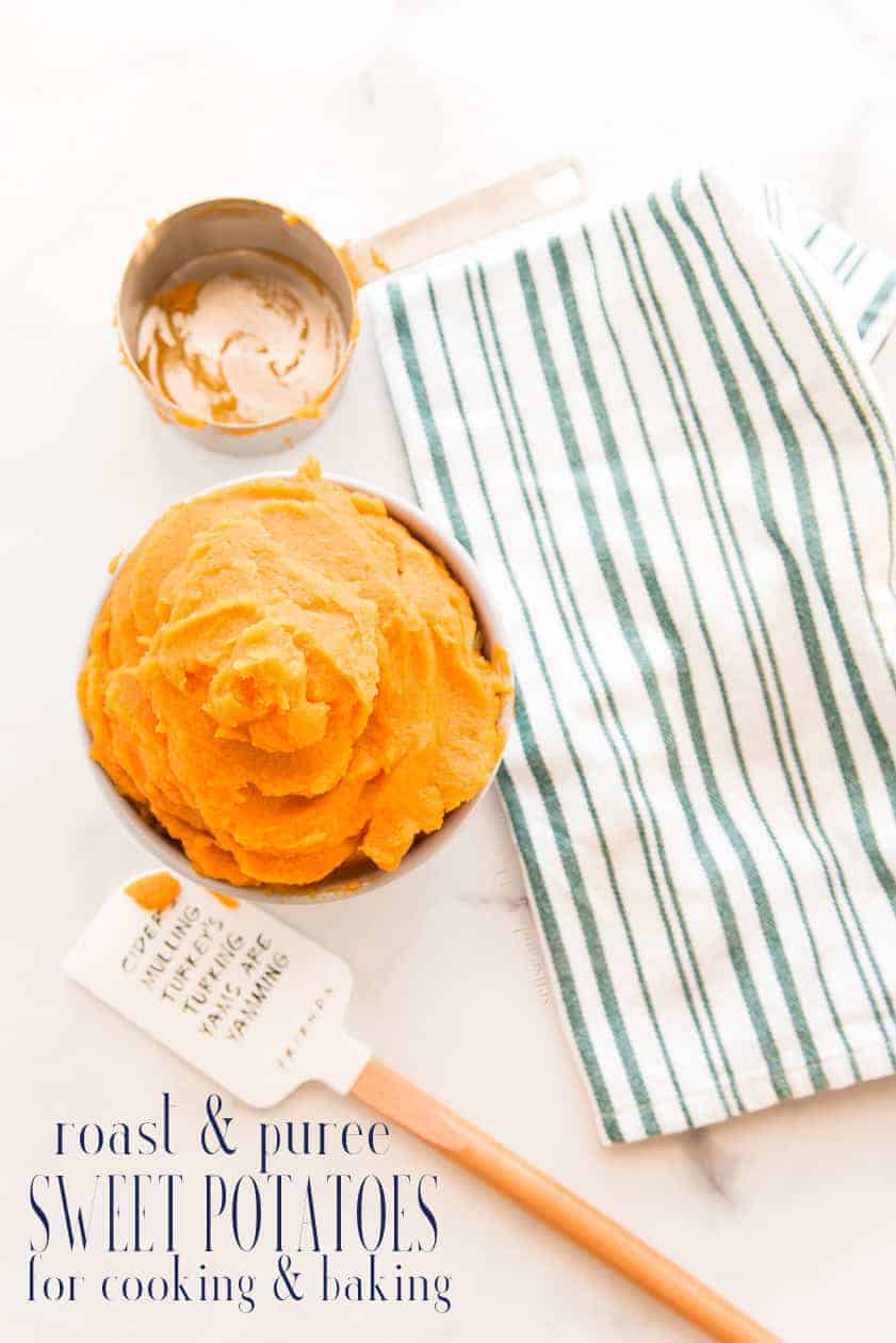 Sweet potato puree is easy to prepare and use in all of your cooking and baking recipes. Learn the best way  to prepare sweet potatoes for puree and get the most flavor out of them. #sweetpotatoes #baking  #cookie #holidayrecipes #holidaybaking #tutorial #howto #culinaryclass #bakingclass #freezerfriendly #cakes #pies #cookies #cooking #babyfood #makeahead #doityourself #organic via @ediblesense