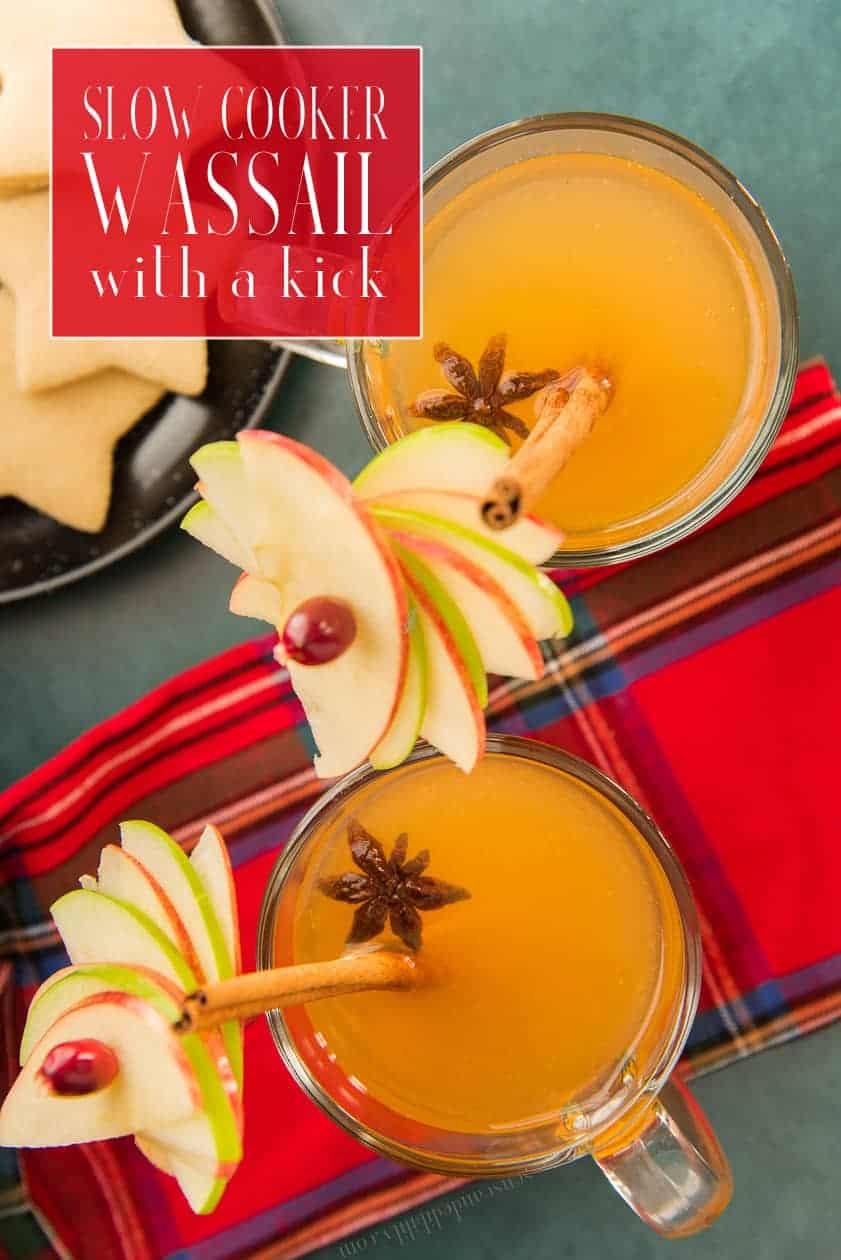 Wassail is easy to make in the slow cooker. This adult beverage comes together quickly in your slow cooker and can simmer away while you entertain your guests. It's an elevated form of apple cider. #wassail  #applecider #mulledwine #cinnamonsticks #slowcookerrecipe #slowcooker #apples #winterdrink #drinkrecipe #Halloween #Thanksgiving #Christmas #TwelfthDay #NewYears #NewYearsEve #ThreeKingsDay #Epiphany #Christmasdrink #coldweatherdrink #holidayparty #cocktailparty #21andOver #cocktails #winedrink via @ediblesense