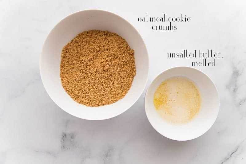 The ingredients for the Oatmeal Cookie Crust: crushed oatmeal cookies and unsalted butter