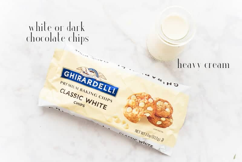Ingredients to make white chocolate ganache: heavy cream and white chocolate chips