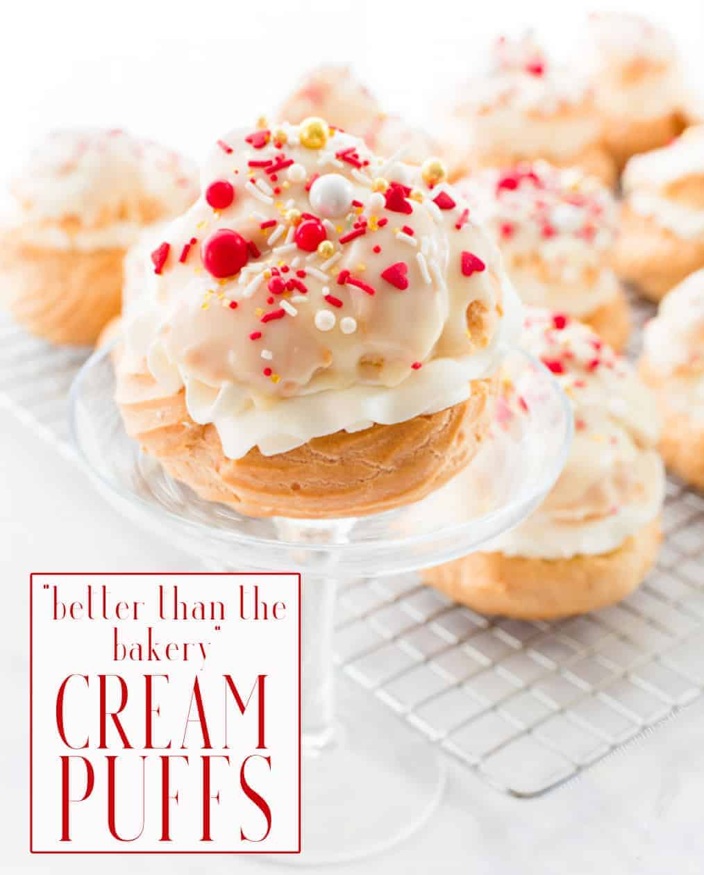 Cream Puffs that are better than a bakery's are within your reach. They're easy to make and you probably already have all of the ingredients in your kitchen! Fill and top them with a variety of sweet or savory options. #creampuffs #profiterole #pateachoux #chouxpaste #pastry #pastries #cream #whippedcream #dessertrecipes #savorypuffs #easy #baking #pastrydessert #Europeanpastries  via @ediblesense