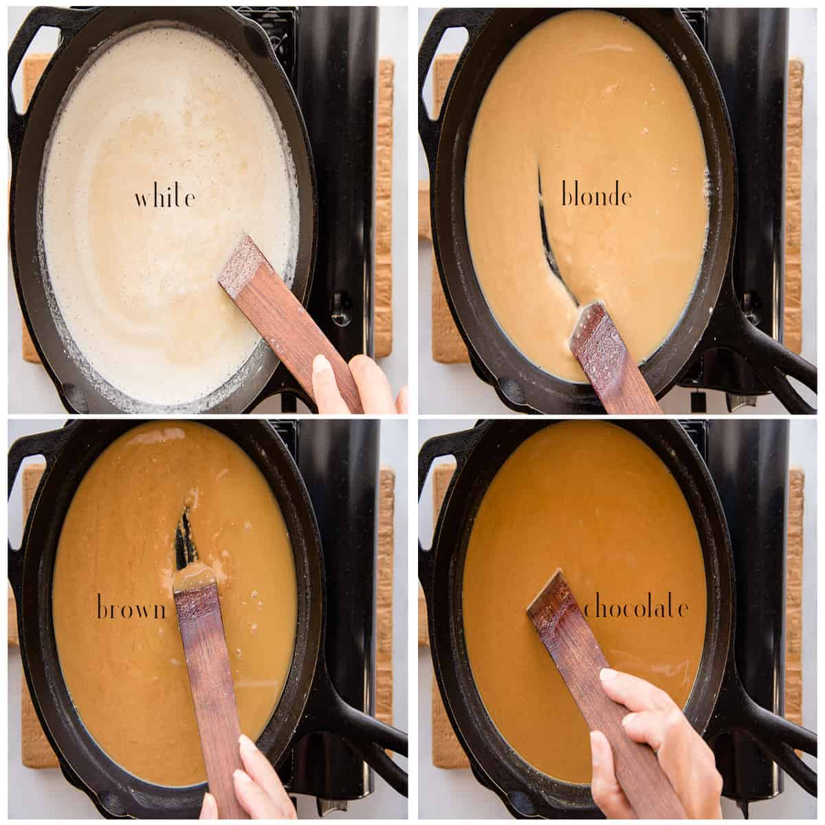 Collage of the different stages of cooking roux pictured with text overlay: top-right to bottom-left: white, blonde, brown, and chocolate.