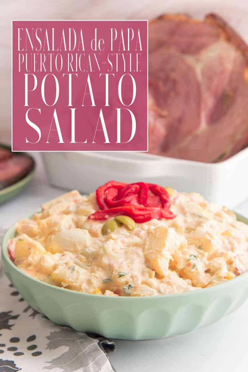 Puerto Rican Potato Salad contains a sweet surprise that will change your view of eating plain, old potato salad. Make this for dinner, parties, or to enjoy on its own. #potatosalad #ensaladadepapa #potatoes #picnicrecipe #cookoutrecipe #bbqrecipe #sidedish #accompaniments #sides #gumbo #pernil #puertoricanrecipes #recetaspuertorriquenas #recetadeensaladadepapa #dominican #caribbean #holidayrecipe via @ediblesense