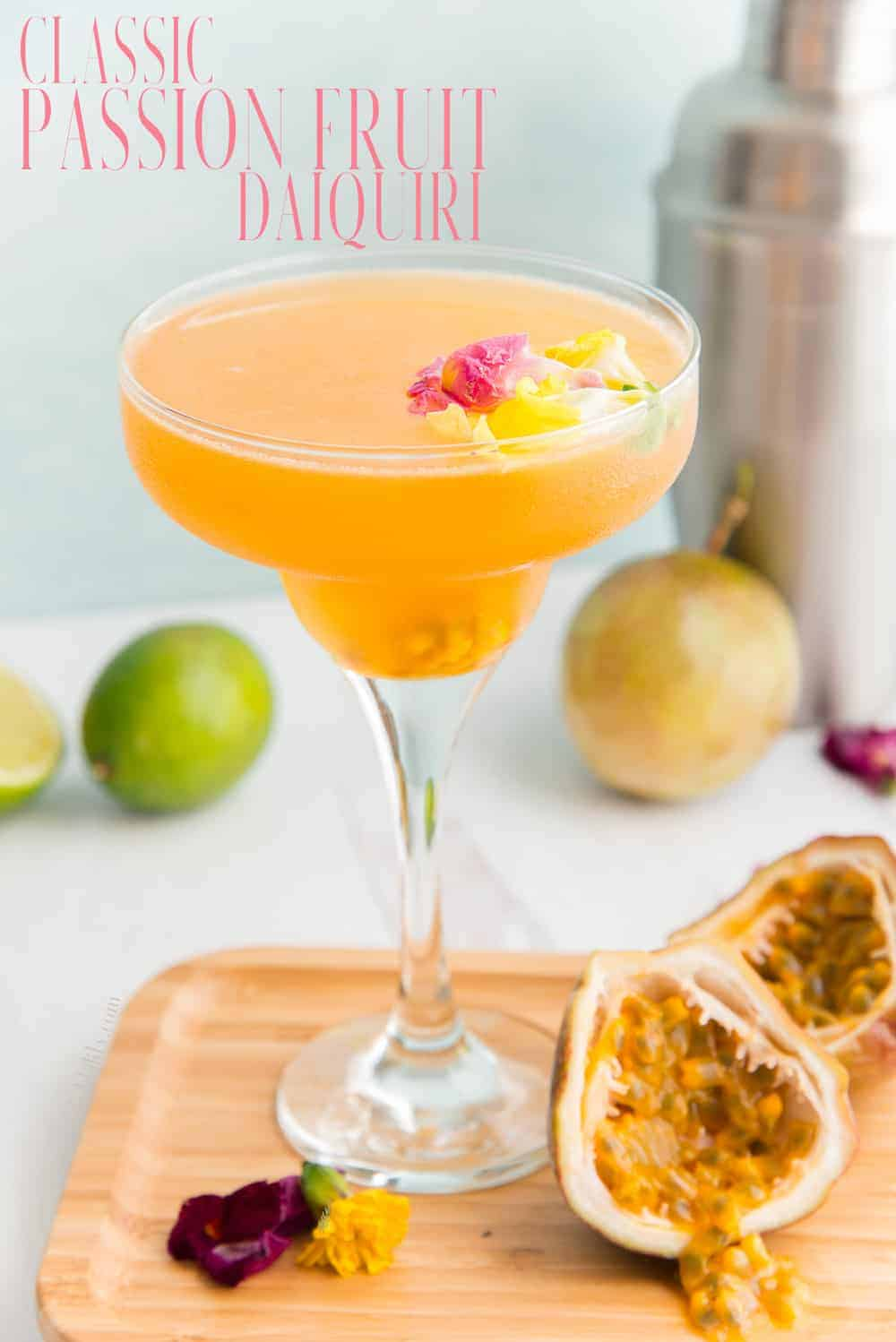The Classic Passion Fruit Daiquiri is shaken, not frozen, but that doesn't mean it lacks in fruity flavor or punch. Made with white rum and fresh citrus juice, the passion fruit flavor is sure to become your new favorite. #passionfruitdrink #parcha #daiquiri #passionfruitdaiquiri #classicdaiquiri #rumdrinks #rumcocktail #bacardirum #bebidasderon #puertoricanrecipe #shakencocktails #jugodeparcha via @ediblesense