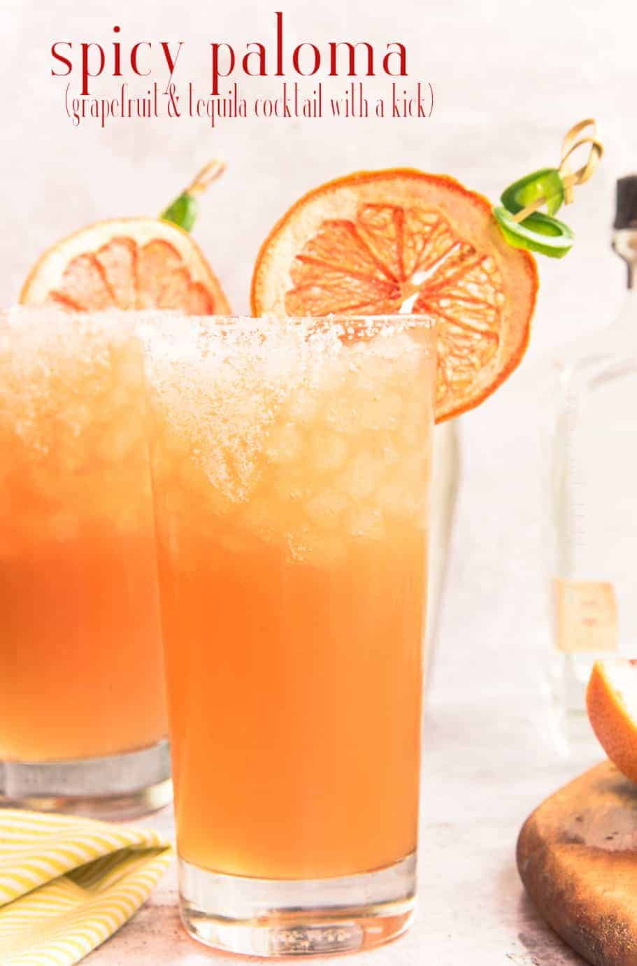 A Spicy Paloma Cocktail will warm you from the inside out. Made with freshly-squeezed grapefruit juice and grapefruit soda, it's tart flavor with a sweet kick of brown sugar simple syrup infused with tequila will offer refreshment throughout the summer. #palomacocktail #paloma #grapefruitsoda #jarritos #jarritostoronja #grapefruitcocktail #spicycocktail #cocktailrecipe #palomacocktailrecipe #tequilablanco via @ediblesense