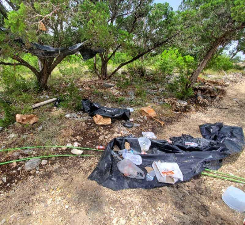 Trash on the ground beneath trees