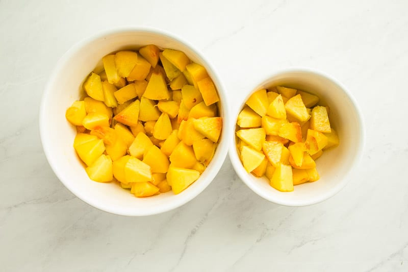The peaches are separated for use in the peach topping recipe.
