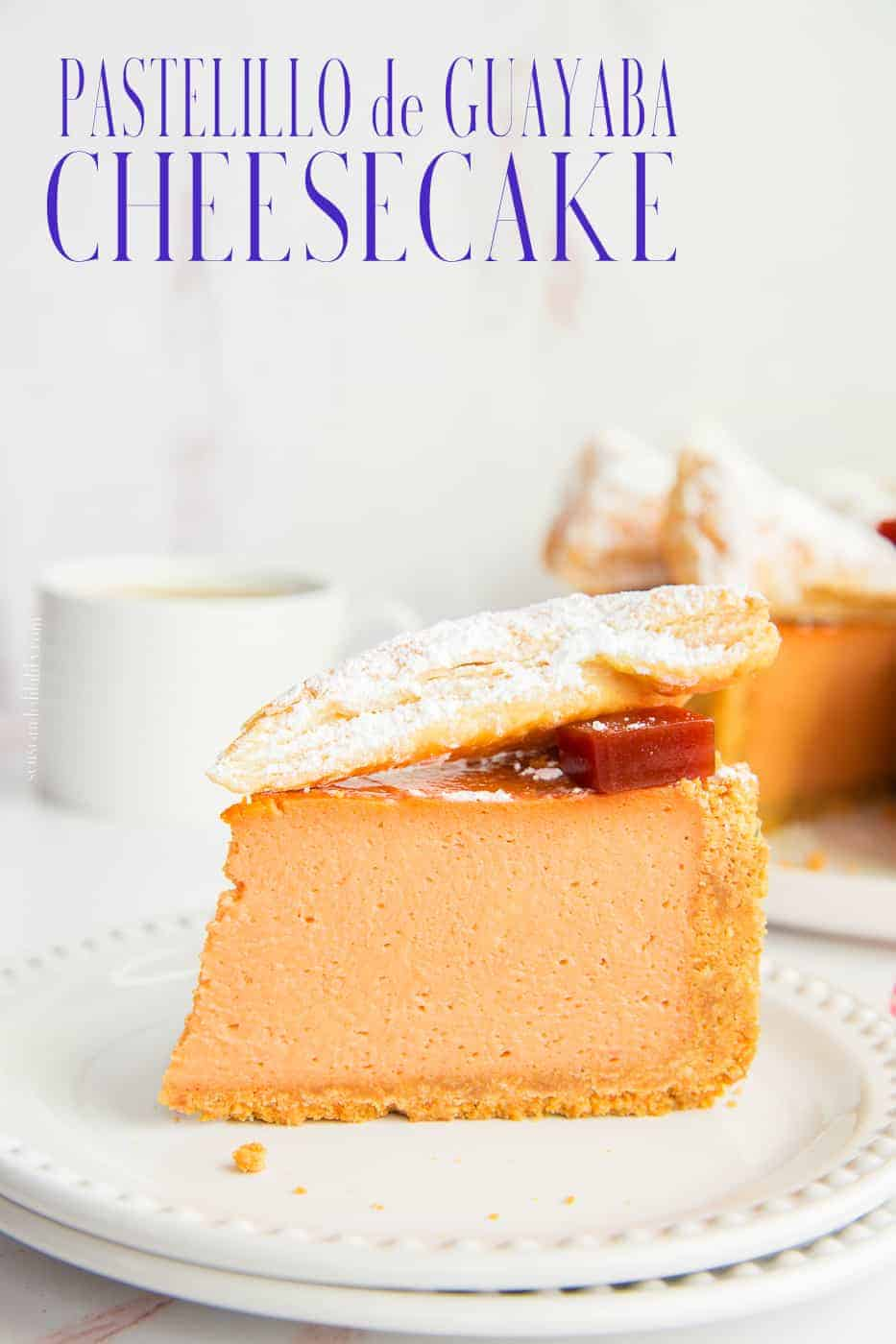 Pastelillo de Guayaba Cheesecake takes the flavors and textures of the popular Puerto Rican pastry and bakes it into a creamy, decadent cheesecake. Maria Cookies form the base. Use a homemade or store-bought puff pastry sheet to top it. #PastelillosDeGuayaba #PuertoRicanRecipes #CheesecakeRecipe #PuertoRicanRecipeWriter #PastelitosDeGuayaba #GuavaPaste #Guayaba #PastaDeGuayaba #Navidades #PuffPastry #MariaCookies #HolidayBaking #ThanksgivingDessert #ChristmasDessert #HolidayDessertRecipe via @ediblesense